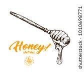 honey sketch spoon  honey hand... | Shutterstock .eps vector #1010698771