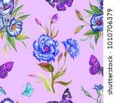seamless pattern lisianthuses... | Shutterstock . vector #1010706379