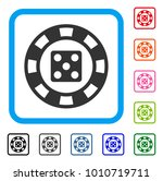 dice casino chip icon. flat...