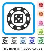 dice casino chip icon. flat...