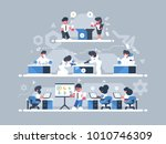 levels of work on project.... | Shutterstock .eps vector #1010746309