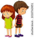 sad boy and girl crying... | Shutterstock .eps vector #1010762851