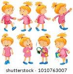 girl in pink dress doing... | Shutterstock .eps vector #1010763007