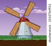 rural stylized windmill  vector ... | Shutterstock .eps vector #1010764921