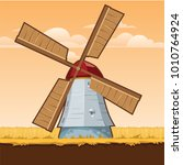 rural stylized windmill  vector ... | Shutterstock .eps vector #1010764924