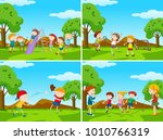 playground scenes with kids... | Shutterstock .eps vector #1010766319