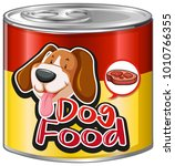 dog food in aluminum can with... | Shutterstock .eps vector #1010766355