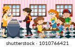 kids eating lunch at the... | Shutterstock .eps vector #1010766421