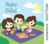 people eating illustration... | Shutterstock .eps vector #1010772184
