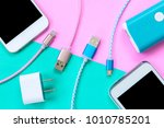 usb charging cables for... | Shutterstock . vector #1010785201
