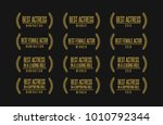 Movie award best leading supporting actress nomination winner black gold vector icon set