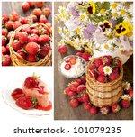 strawberries   collage - stock photo