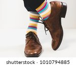 men's feet in stylish shoes and ... | Shutterstock . vector #1010794885