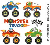 set of isolated monster trucks... | Shutterstock .eps vector #1010801971
