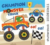 monster trucks with animals on... | Shutterstock .eps vector #1010810611