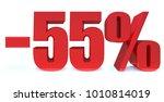 minus 55 percent off 3d sign on ... | Shutterstock . vector #1010814019