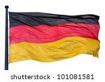 German national flag isolated on white background - stock photo