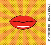 women's red lips. pop art... | Shutterstock .eps vector #1010818027