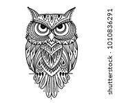 ornate owl  zenart for your... | Shutterstock .eps vector #1010836291