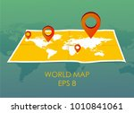 world map with pin pointers.... | Shutterstock .eps vector #1010841061