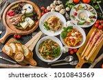 fettuccine pasta italian cuisine | Shutterstock . vector #1010843569