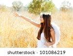 angel ethnic woman in golden... | Shutterstock . vector #101086219
