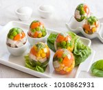 eggs stuffed with aspic. eggs... | Shutterstock . vector #1010862931