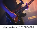 electric bass guitar player on... | Shutterstock . vector #1010884081