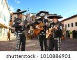 mexican musicians mariachi on a ... | Shutterstock . vector #1010886901