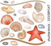 Set Seashells And Starfish...