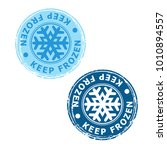 set of blue keep frozen product ... | Shutterstock .eps vector #1010894557