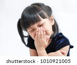 little asian girl have a... | Shutterstock . vector #1010921005