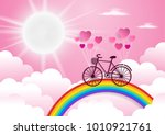 bicycle riding on a rainbow...   Shutterstock .eps vector #1010921761