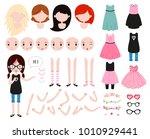 cute girl character constructor.... | Shutterstock .eps vector #1010929441