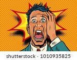 pop art panic face man funny.... | Shutterstock .eps vector #1010935825