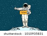 astronaut hitchhiker rides in... | Shutterstock .eps vector #1010935831