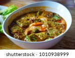 Small photo of Sour Curry with Vegetable Omelet (gang som cha-ome kung) is thai food dilicious