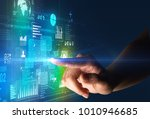 female finger touching a beam... | Shutterstock . vector #1010946685