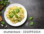 pasta spaghetti with zucchini ... | Shutterstock . vector #1010951014
