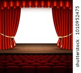 stage with red curtain. and... | Shutterstock .eps vector #1010952475