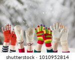winter mittens and gloves  | Shutterstock . vector #1010952814
