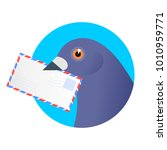a post pigeon with an envelope... | Shutterstock .eps vector #1010959771