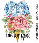 valentine day card. rose flower ... | Shutterstock . vector #1010970061