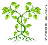 A tree or plant with strong roots growing in shape of a dollar sign. Conceptual illustration for sound financial planning, green shoots of economic recovery, earning interest or other monetary growth. - stock photo