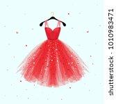 red dress for valentine day... | Shutterstock .eps vector #1010983471