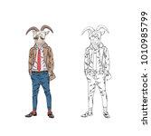 bearded goat man dressed up in...   Shutterstock .eps vector #1010985799