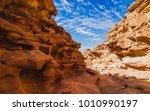 color conyon in sinai desert ... | Shutterstock . vector #1010990197