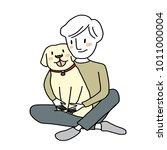 dog lover concept   cute man... | Shutterstock .eps vector #1011000004