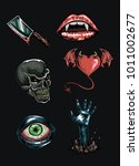 set of horror icons. vector set ... | Shutterstock .eps vector #1011002677