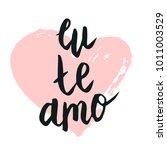 happy valentine lettering eu te ... | Shutterstock .eps vector #1011003529